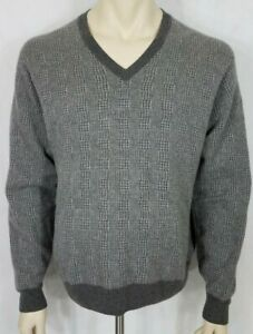 Austin Reed Gray Check Plaid 100 Cashmere V Neck Pullover Sweater Mens Large Ebay