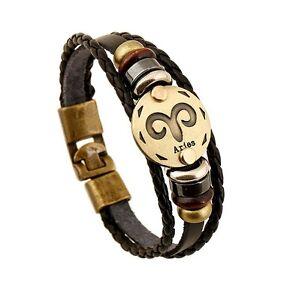 Women-039-s-Men-039-s-Constellation-Zodiac-Genuine-Leather-Bracelet-Wristband-Bangle