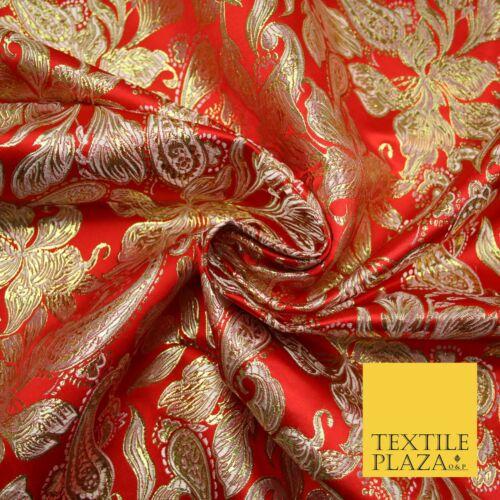 "Floral Paisley Oriental Chinois Brocart Métallique satin jacquard Tissu Large 59/"""