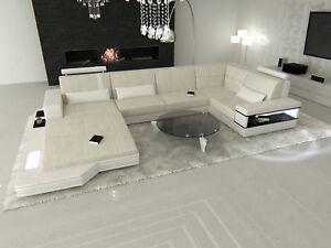 Stoffsofa Polstersofa Wohnlandschaft MESSANA U Form Design Couch im ...