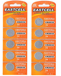 10-x-CR2032-3V-210-mAh-Lithium-Batterie-auf-2-Cards-a-5-Stueck-EAST