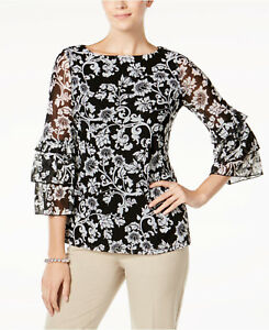 New Women/'s Charter Club Floral-Print Ruffled-Sleeve Me Deep Black Combo XL