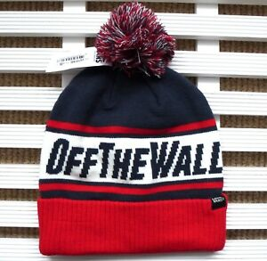 b0f6db48 VANS Navy Red BOBBLE BEANIE HAT Toque Pompom Skateboarding CUFF UP ...