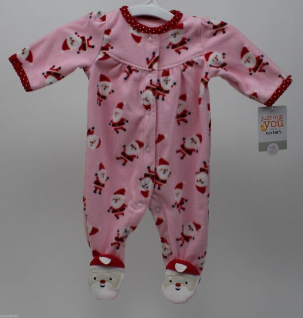 fa0131254f2d Newborn Carters Pink Fleece Christmas Sleeper Santa Claus Footed ...