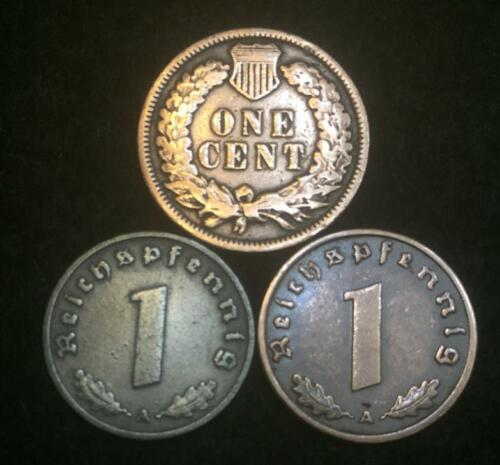WW2  German Coin WW2 German Coins and Indian Head Cent