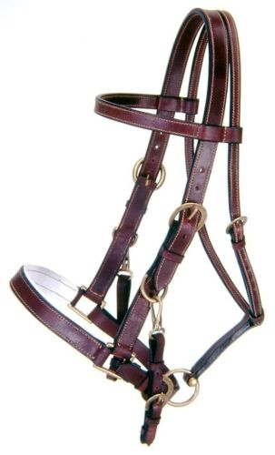 Black or Brown Leather Australian Leather Bridle Halter Combo
