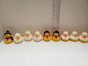Lot-Of-8-Toysmith-Rubber-Ducks-Halloween-Dracula-Ghost-Witch-Fast-shipping