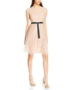 Elise-Ryan-Women-039-s-Lace-Skater-with-Short-Bow-Dress-Size-6-RRP-42-1588