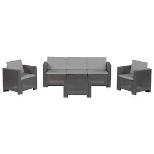 Set per esterno grigio antracite in polipropilene divano 2 poltrone ...