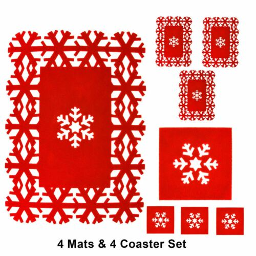 8pc place mat et Coaster Set Noël De Flocons de neige rouge