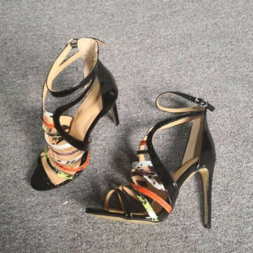 Womens Stiletto High Heel Ankle Strap Sandals Cut Out Peep Toe Party Prom Shoes Black