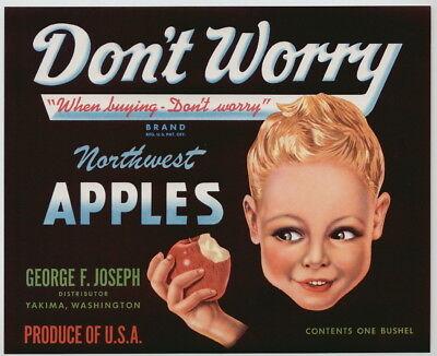 ORIGINAL 1940S PEAR CRATE LABEL VINTAGE DON/'T WORRY YAKIMA WASHINGTON CUTE