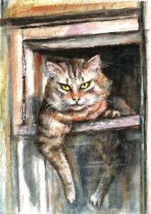 ACEO-Ginger-Cat-animals-painting-original-watercolor-art-card