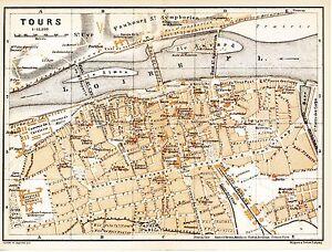 37 Tours 1895 plan ville + guide (6 p.) hôtels tram Béranger Heurteloup St-Cyr HX5T9HYt-09093438-613451285