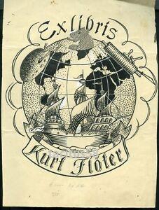 À La Main Ex Libris-kurt Flöter Meseritz Prusse Poméranie Międzyrzecz-afficher Le Titre D'origine Kxcxu84k-07185246-310956943