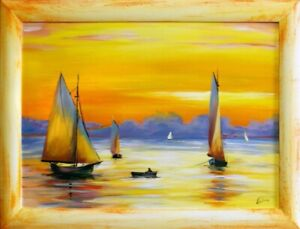 Painting-Port-Handmade-Oil-Painting-Picture-Oil-Ships-Frame-Pictures-G15770
