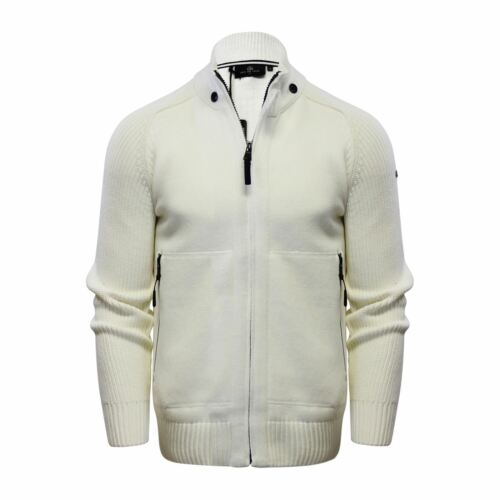 Duck /& Cover Stern Mens Cardigan Jumper Cotton Zip Up Funnel Neck Sweater