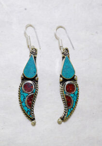 Tribal-Ethnic-sterling-silver-earrings-Turquoise-and-Coral-jewelry-Handmade-E10