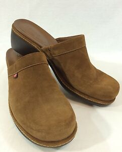 ecco brown suede leather slip on clogs mules womens casual