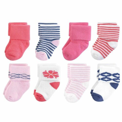 8-Pack Touched By Nature Girl Organic Terry Socks Flower