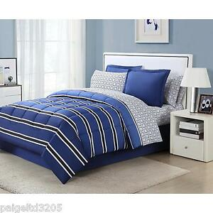 Essential Home 6-pc TWIN Comforter Bedding Bed Set - Rugby Stripe Blue/White/Blk