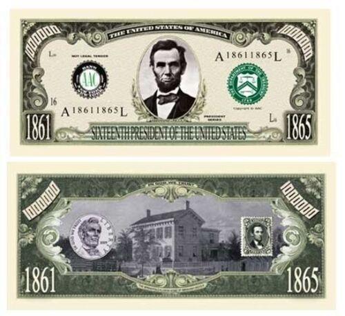 Set of 10 Abraham Honest Abe Lincoln Million Dollar Bill