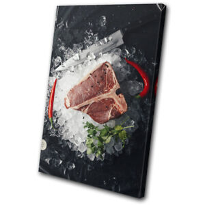 Meat-Steak-Beef-Cow-Rare-Food-Kitchen-SINGLE-CANVAS-WALL-ART-Picture-Print
