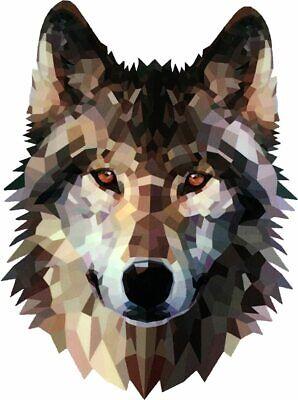 OTA STICKER Grey Lone Wolf Geometric Artistic Decal Full Color Size 5 x 4 inch