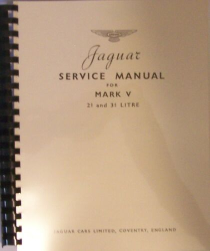 Jaguar Mark V Shop/Service Manual - Brand New!
