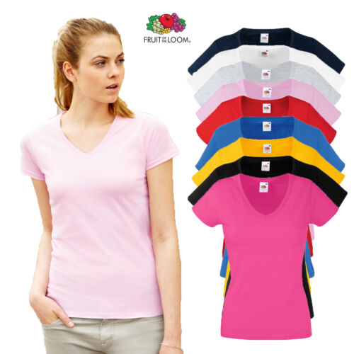 Fruit of the Loom Ladies Fitted V Neck T Shirt