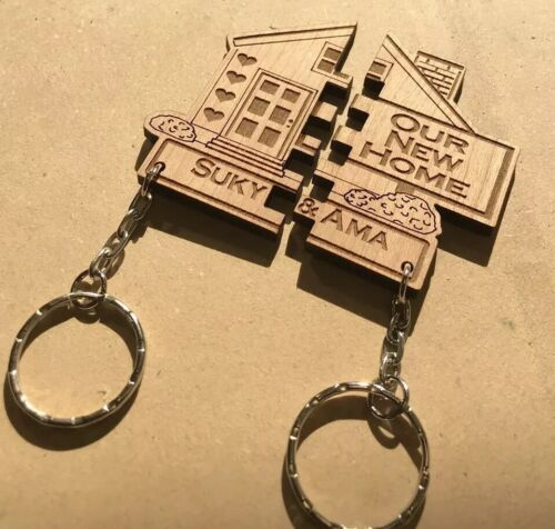 2 x PERSONALISED Our First Home KEYRINGS House Warming New Home Gift Wedding