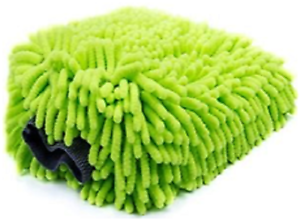 FGA1-Chenille-Microfiber-Car-Wash-Mitt-Washing-Sponge-Lime
