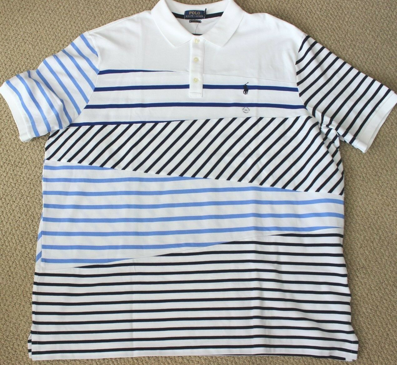Polo Ralph Lauren Patchwork Shirt XXL S S Men's NWT White bluee Striped Classic