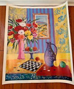 Jean-Claude-Picot-Seriolithograph-Screen-Print-Art-Le-Vase-Bleu-de-Madrid