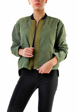 Free People Authentic Women's Quilted Aviator Jacket Army Green RRP £119 BCF68