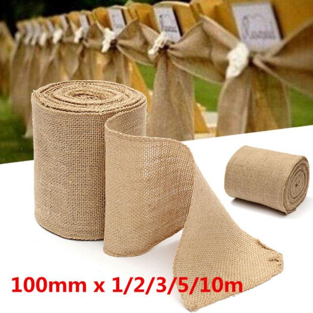 Woven Natural Rustic Jute Burlap Hessian Tape Ribbon 2 x 10M Roll 20 Metres