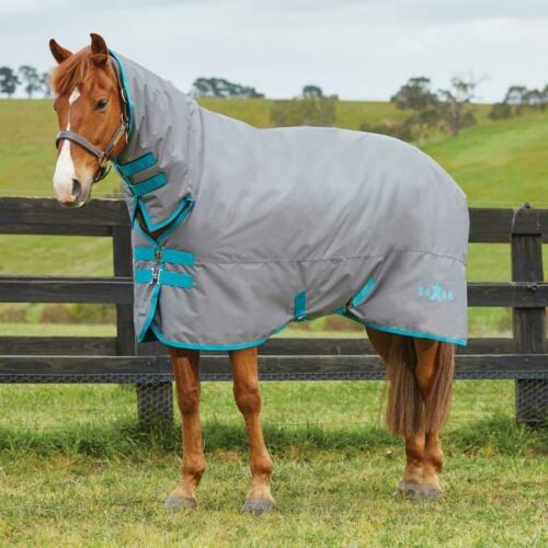 New Saxon 600D Heavy 300g Combo Turnout Rug Grey//Blue Was £69.99