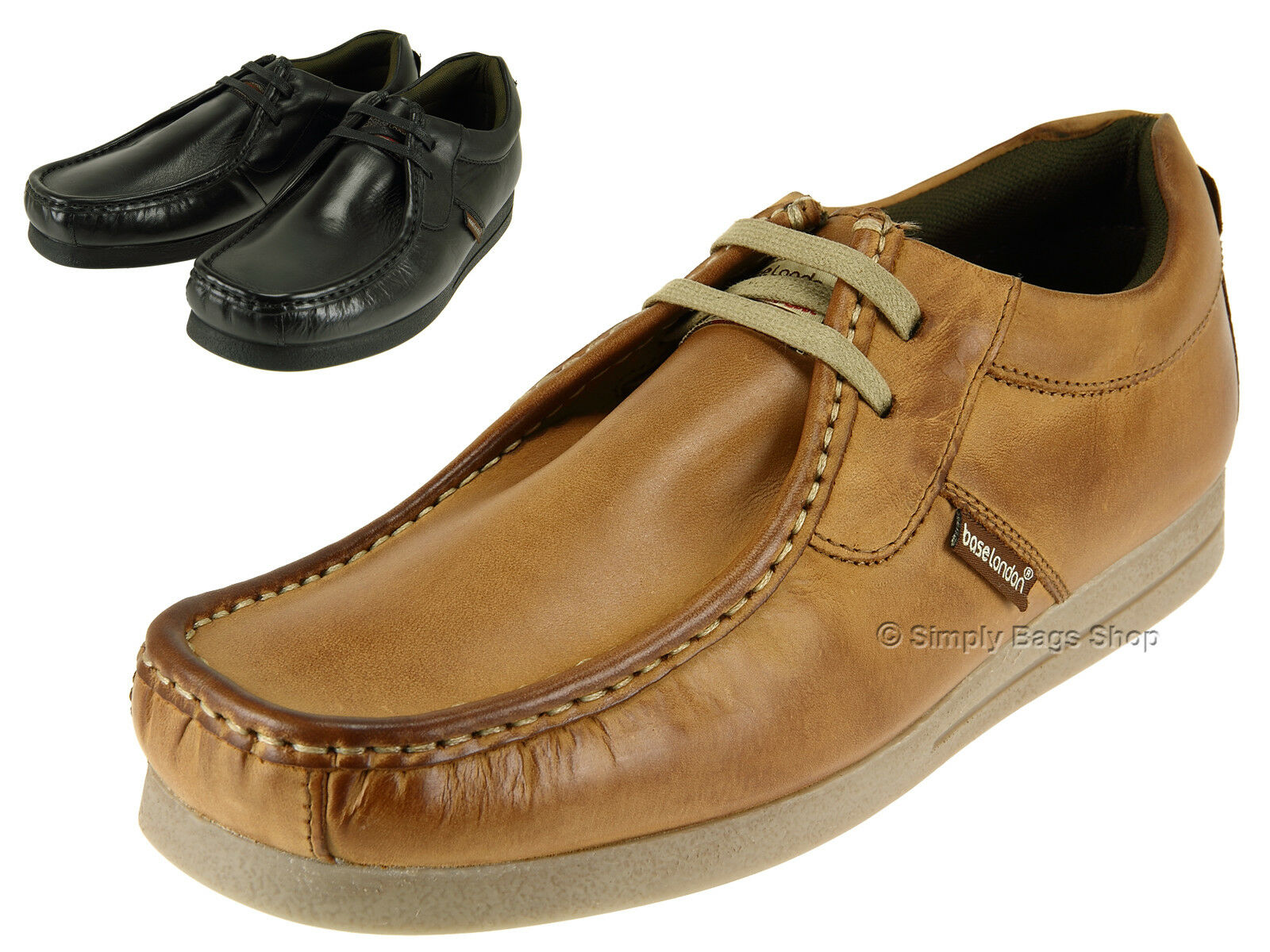 Base London Mens Soft Leather Comfortable Casual Shoes With Gripping Rubber Sole