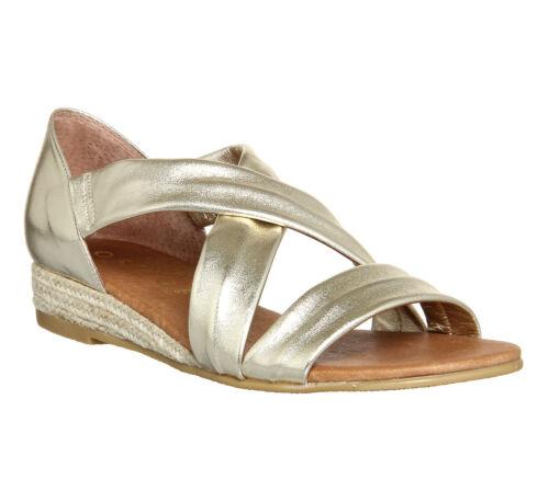 Womens Office Hallie Cross Strap Espadrilles Gold Metallic Leather Flats