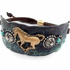 WESTERN GOLD SILVER HAMMERED PLATE HORSES BROWN LEATHER CUFF PATINA BRACELET