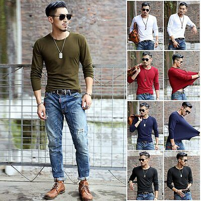 Fashion Solid Color Men's Under Casual T-Shirt Long Sleeve Slim Fit Basic Shirts