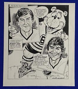 1980-039-s-Bruins-HOF-Bobby-Orr-Ray-Bourque-15x18-Original-Cartoon-Art-by-Germano