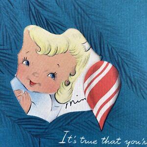 Vintage-Mid-Century-Christmas-Greeting-Card-Cute-Angel-Girl-Peeking-Through-Tree