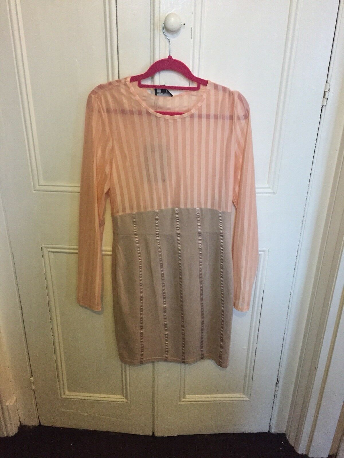 Iryka Nude Mesh Stripe Suede Skirt Bodycon Dress