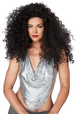 Adult 70s 80s Long Curly Diana Ross Brunette Disco Diva Do Costume Wig