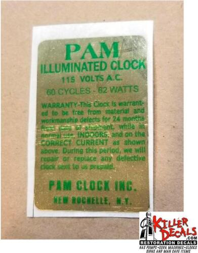PAM CLOCK PARTS BACK VOLTAGE LABEL GOLD WITH GREEN LETTERING PAM-2