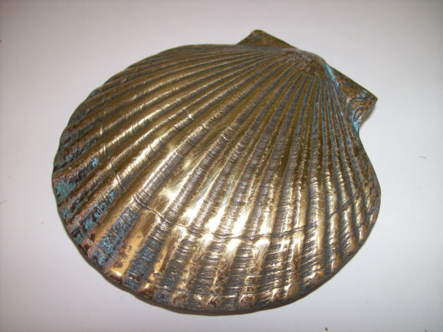 Genial Brass Sea Scallop Shell Door Knocker   Clam Nautical   Douglas Paquette  2002 #1