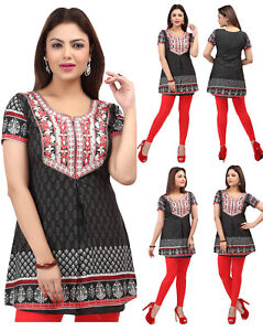 WOMEN CASUAL INDIAN SHORT KURTI TUNIC KURTA TOP SHIRT DRESS 519BK UK SIZES 8-24