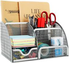 Mesh Desk Organizer 6 Compartment For Office Supplies Silver