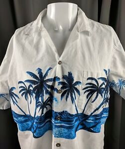XL-White-Aloha-Hawaiian-Shirt-Blue-Palm-Trees-Ocean-Moon-Favant-Casual-Friday
